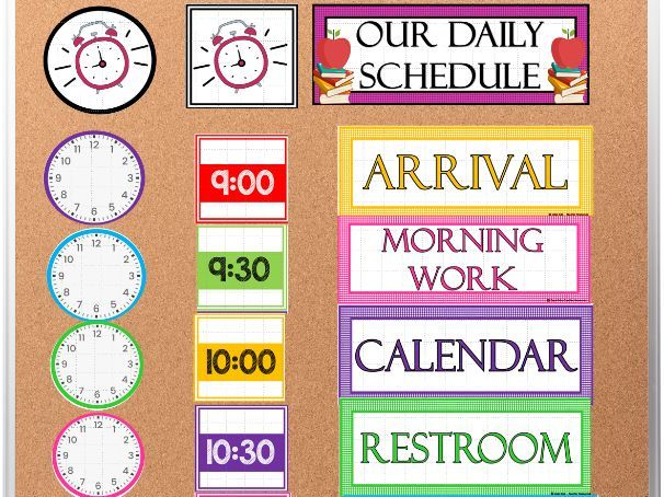 Class Daily Schedule Display Cards- EDITABLE PPT | Back to School Class Decor