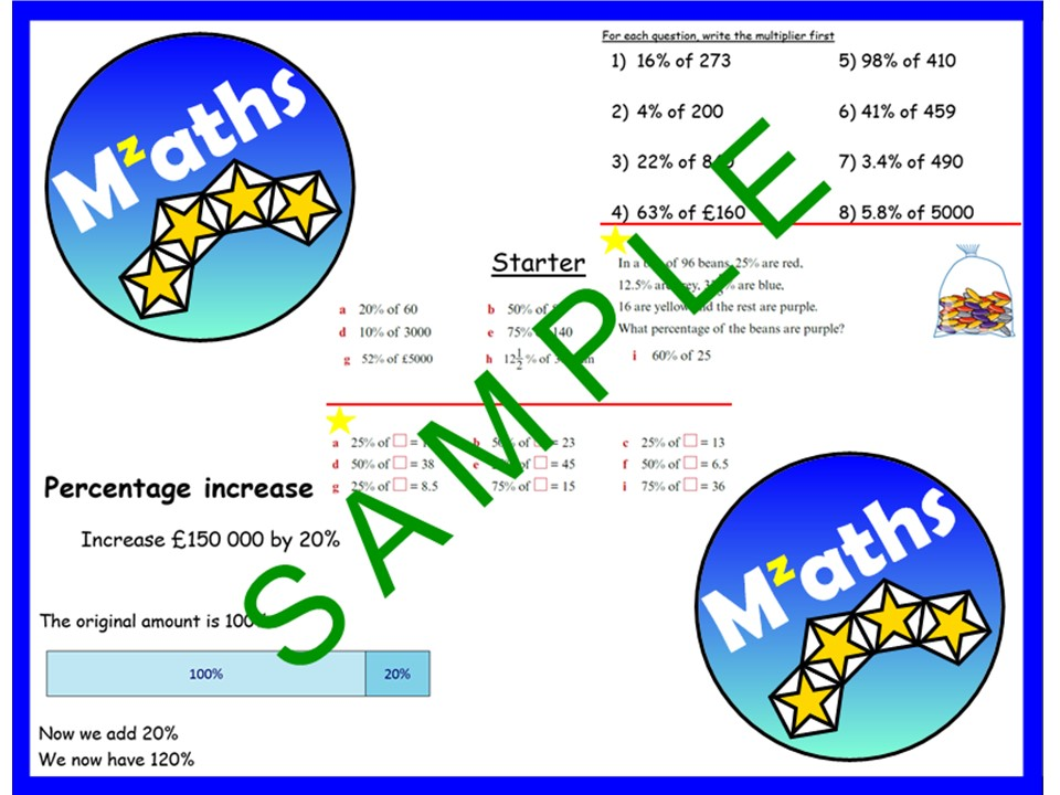 Percentages - of Amounts/% Increase/% Decrease/Problem Solving/Revision