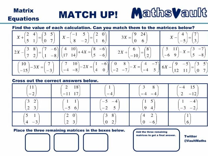 Matrix Equations Match Up worksheet