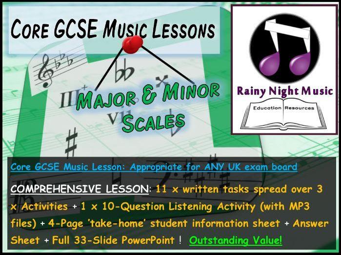 GCSE Music MAJOR and MINOR SCALES Whole Topic Lesson for AQA Edexcel OCR  EDUQAS Exam Boards