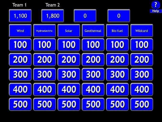 GCSE - Renewable Energy - Jeopardy Revision Game