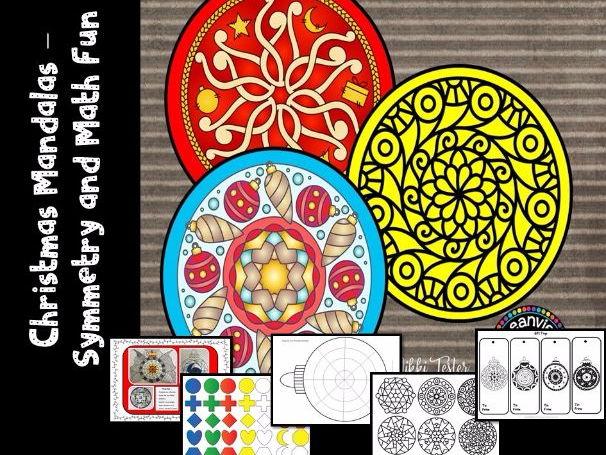 Christmas Mandalas - Maths meets Art (Symmetry and Concentric Circles)