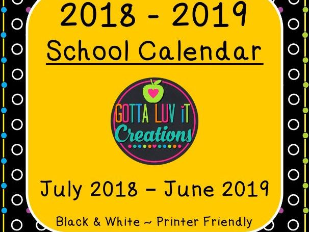 Back to School 2018-2019 School Calendar