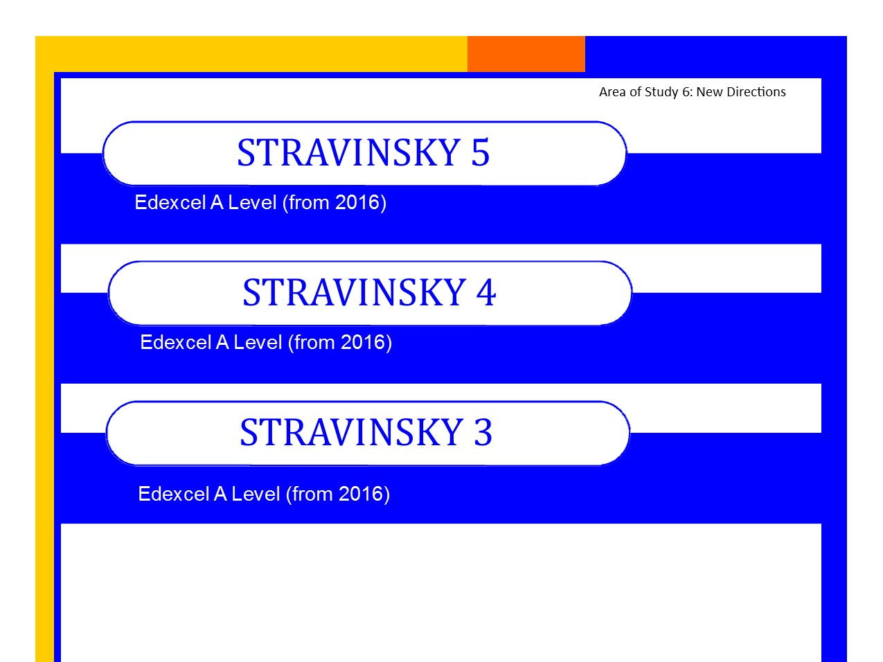Bundle+ of Edexcel Music A level (from 2016) Stravinsky worksheets 3,4 and 5 PLUS Elements of Music summary sheets.