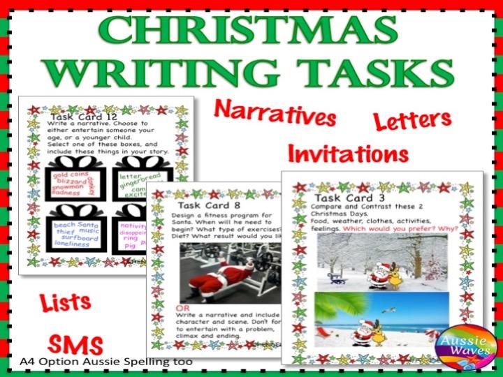 CHRISTMAS WRITING Activities Literacy Centre Task Cards Individual Fun Ideas