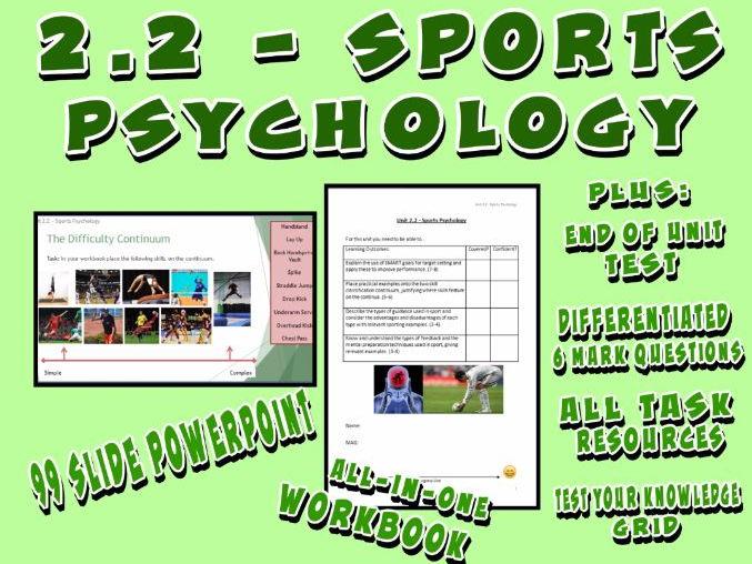 OCR GCSE PE 9-1 (2016) 2.2 - Sports Psychology - Unit of Work