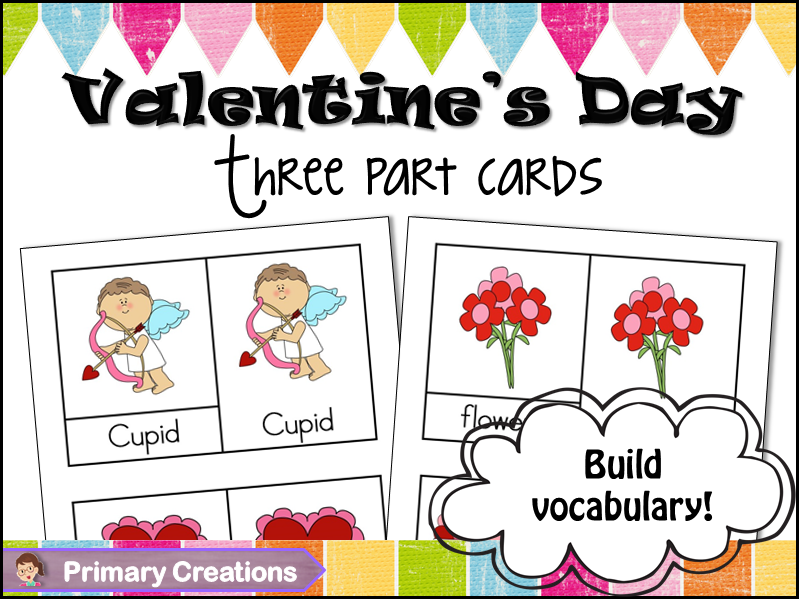 Valentine's Day Preschool and PreK Vocabulary Cards (Classified Cards)