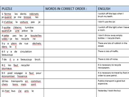 Word order worksheet on environmental problems and solutions.