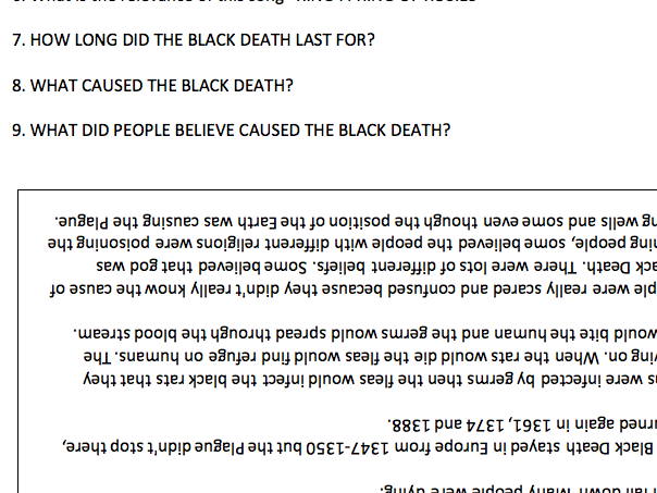 Black Death Worksheet