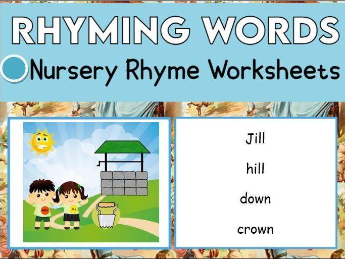12 Rhyming Words in Nursery Rhymes Worksheets