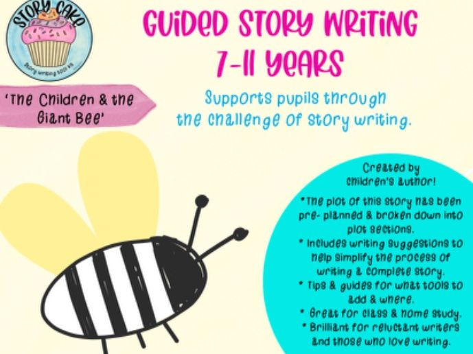 Guided Story: 'Children & the Giant Bee' - pre-planned plot & writing suggestions - story writing