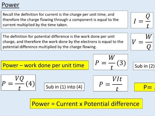 A level Physics (12.2) Potential difference and power (Electric current)