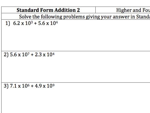 standard form questions  GCSE Maths - Standard Form Addition - 8 Questions and Worked Answers