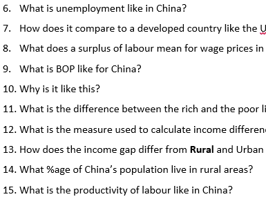 AQA GCSE Economics Unit 12 - Investigating Economic Issues -Growth in China - Revision questions