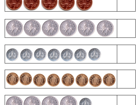 Counting in 1s, 2s, 5s and 10s using coins - 3 Differentiated Worksheets
