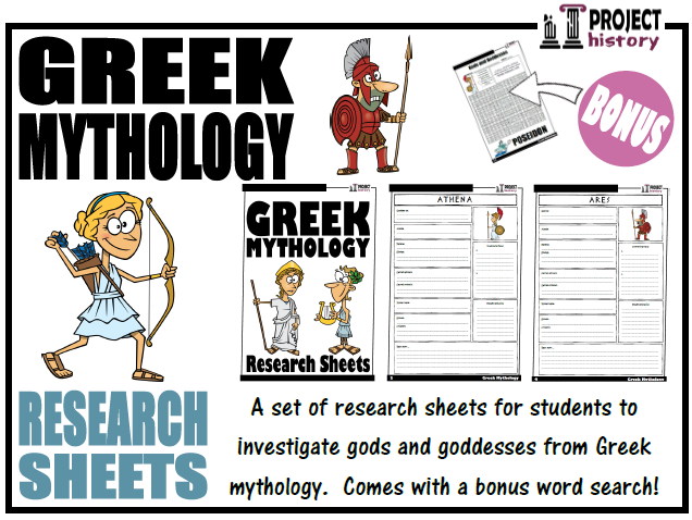Greek Mythology Research Sheets