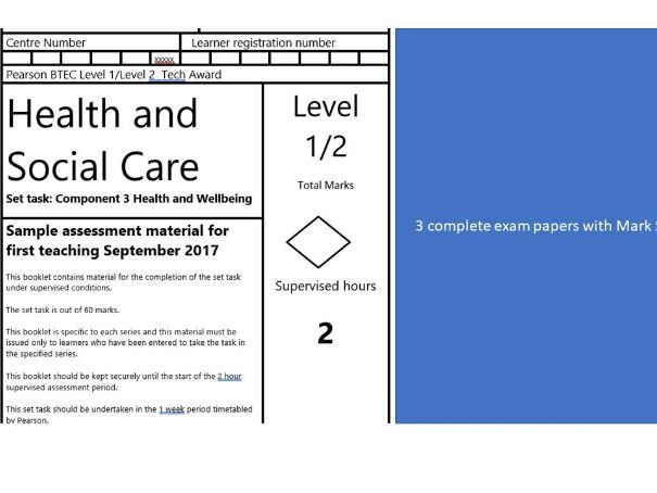 Health and Social Care BTEC Level 2 Component 3, 3 exam papers