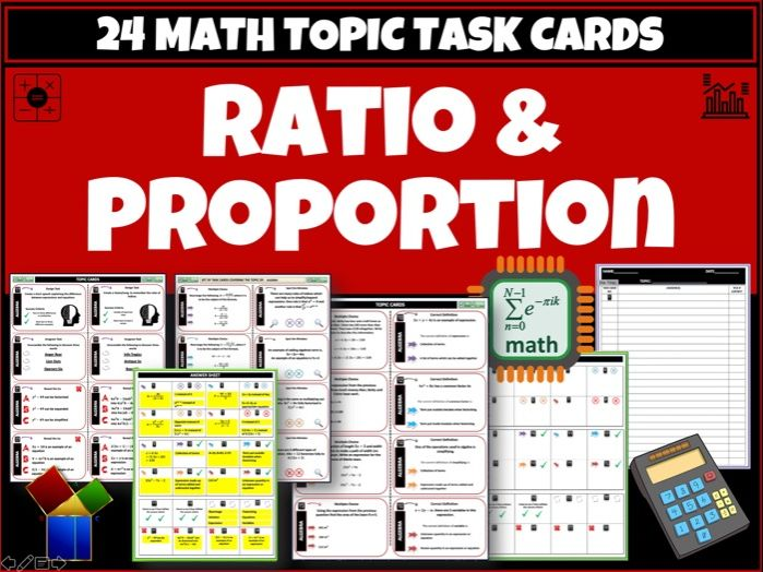 Ratio Proportion Maths task cards