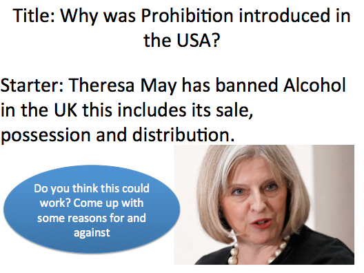 Year 9 Prohibition - Lesson 1 Why was it introduced?