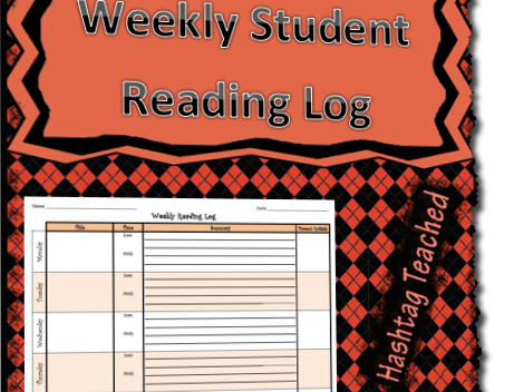 Student Weekly Reading Log With Summaries