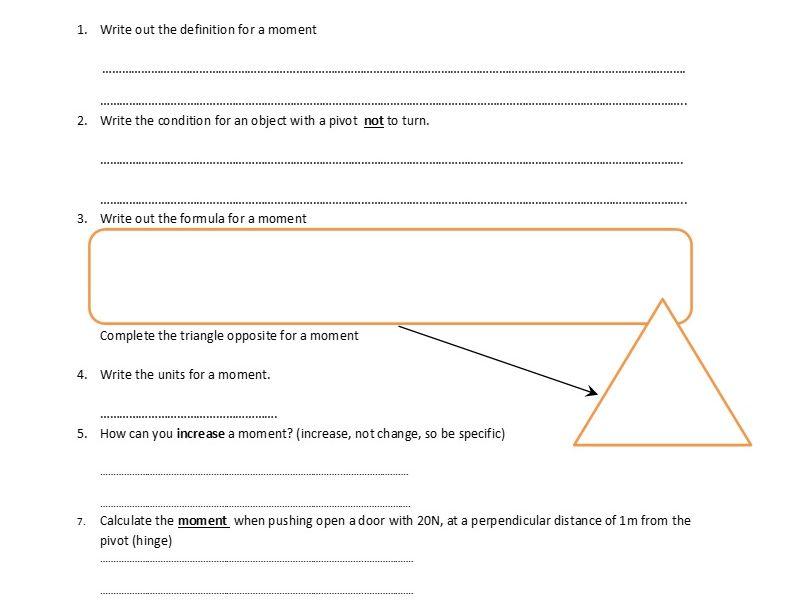 GCSE Physics Worksheet: Moments, definition, formula and Q&A