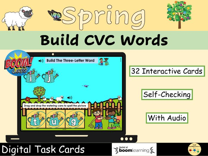 CVC Words Mixed Build Words Easter Spring Phonics Set 2 BOOM Cards™