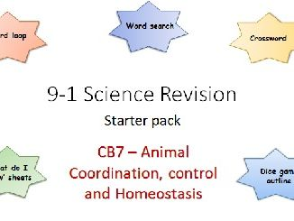 B7 Animal Coordination, control and Homeostasis Revision starter pack Science 9-1