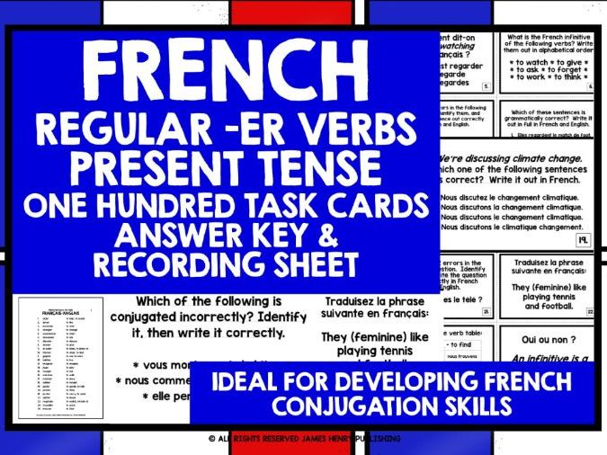 FRENCH VERBS TASK CARDS #1