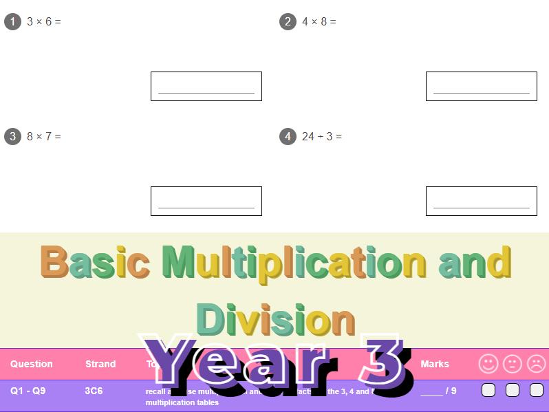 Basic Multiplication and Division Worksheet + Answers (KS2 - Year 3)