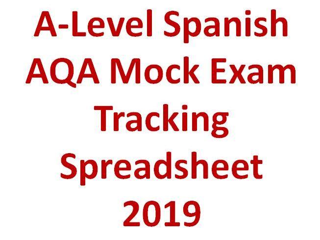 A-Level Spanish AQA Mock Exam Tracking Spreadsheet  2019