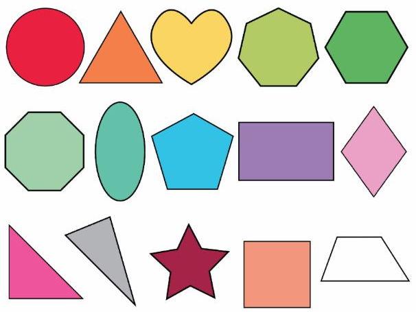 Colorful 2D Shapes, Dotted 2D Shapes 27 colors x 15 shapes 420 Graphics