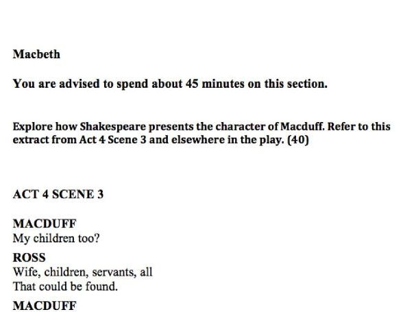 OCR Macbeth Extract Practice Questions x6