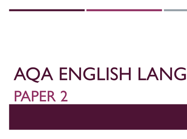 AQA PAPER 2 QUESTION 4, English Language 8700