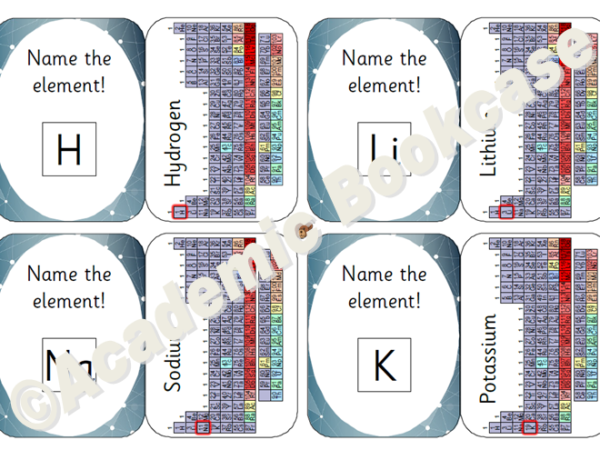 self check science flashcards periodic table