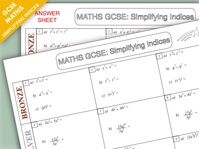 GCSE Maths: Simplifying Indices Worksheet Pack (Higher Tier)