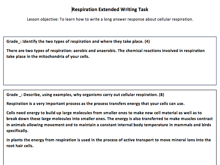 Respiration Extended Writing - AQA Trilogy