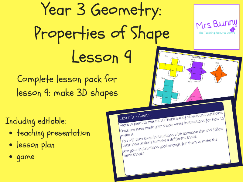 9. Geometry: make 3D shapes lesson pack (Y3)