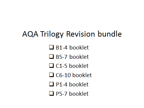 AQA Trilogy revision bundle all papers 1-6