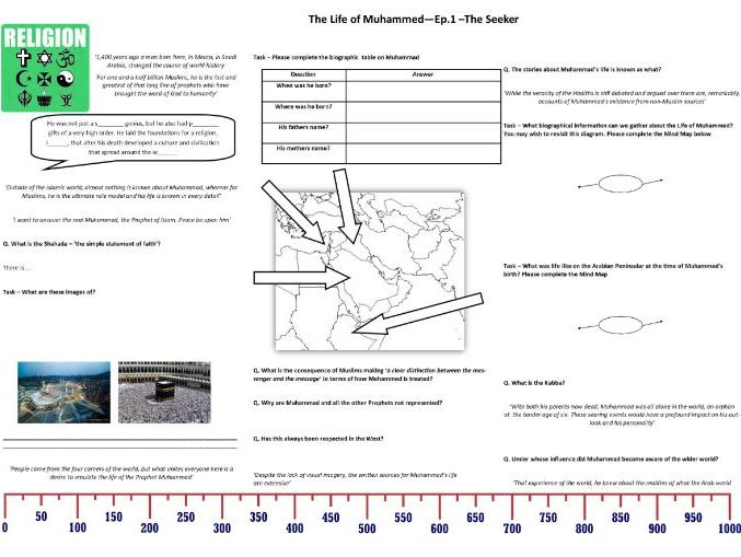 BBC  The Life of Muhammad - Ep1 The Seeker - Worksheet to support the BBC Documentary