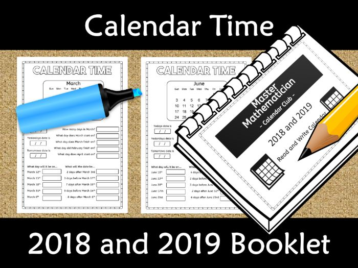 Calendar Worksheet Booklet 2018 and 2019