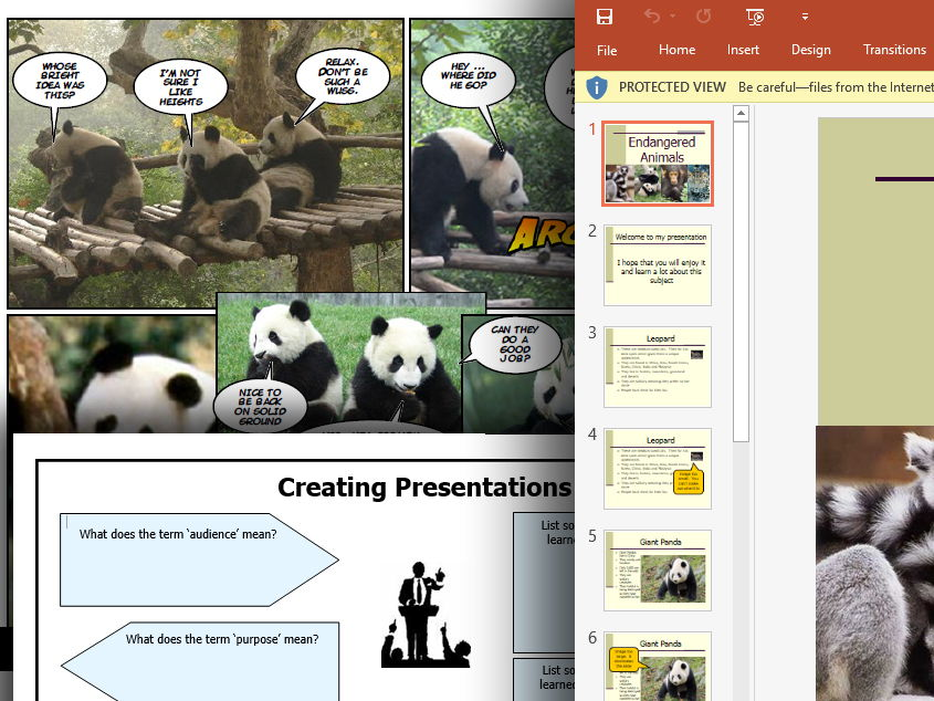 Entire 6 lesson unit of work on making presentations (endangered animals)