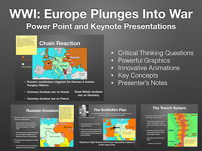 """World War One """"Europe Plunges Into War"""" 1914-1916 Power Point and Keynote Presentations"""