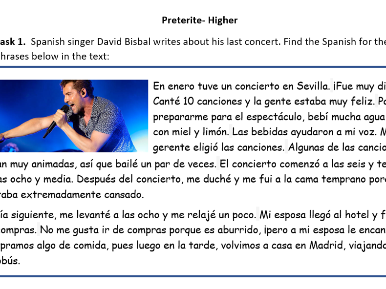 Spanish GCSE preterite practice worksheet