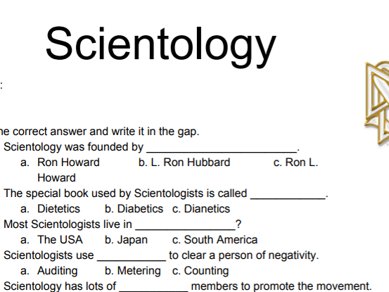Free Scientology Worksheet