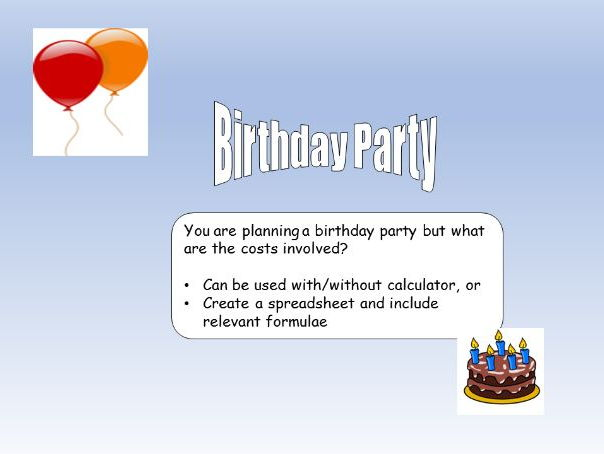 Maths resource:  Birthday party planning