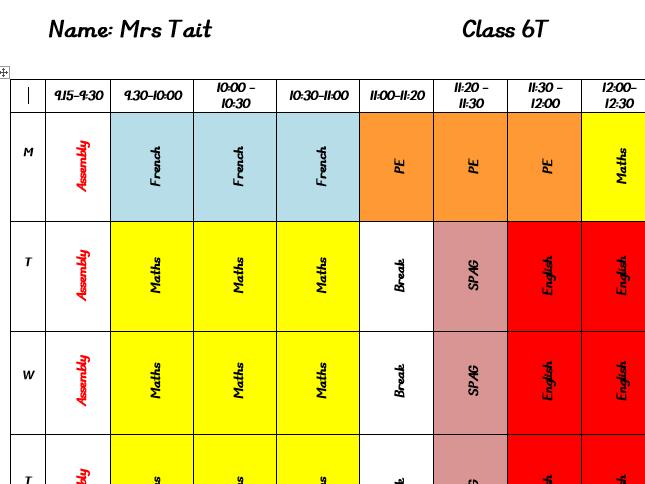 Class timetable - editable