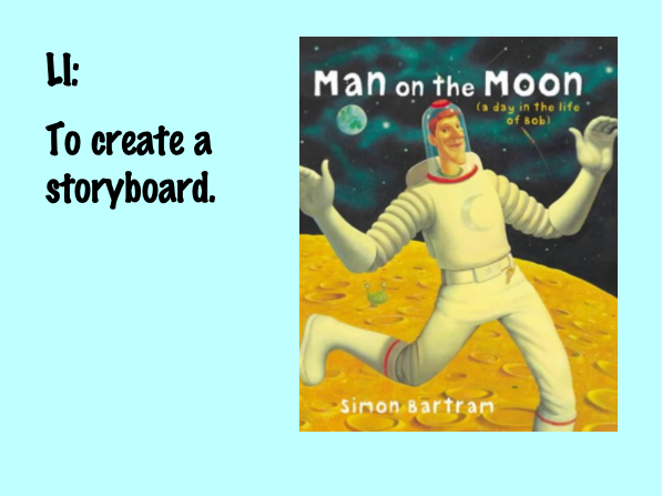 Storyboard Worksheet and Notebook: Man on the Moon -  A Day in the Life of Bob