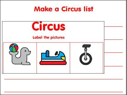 Circus List and Labelling Worksheets