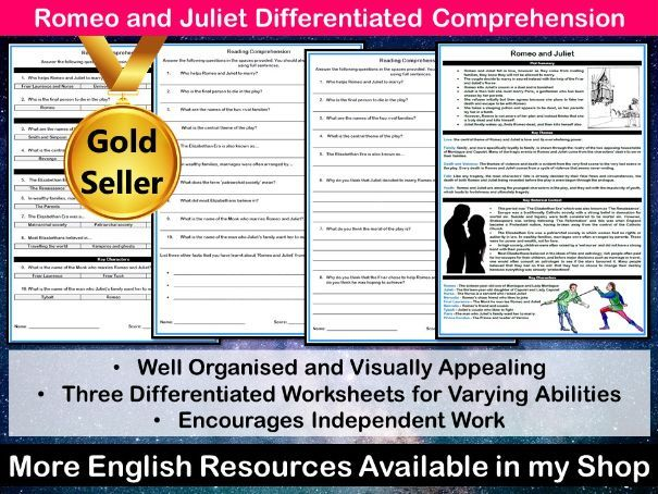 Romeo and Juliet Differentiated Reading Comprehension Task