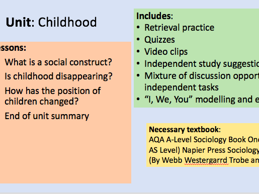 4 lessons - Childhood (Families and Households AQA Sociology)